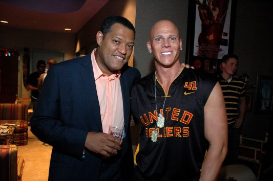 Johnny Brenden with Laurence Fishburne