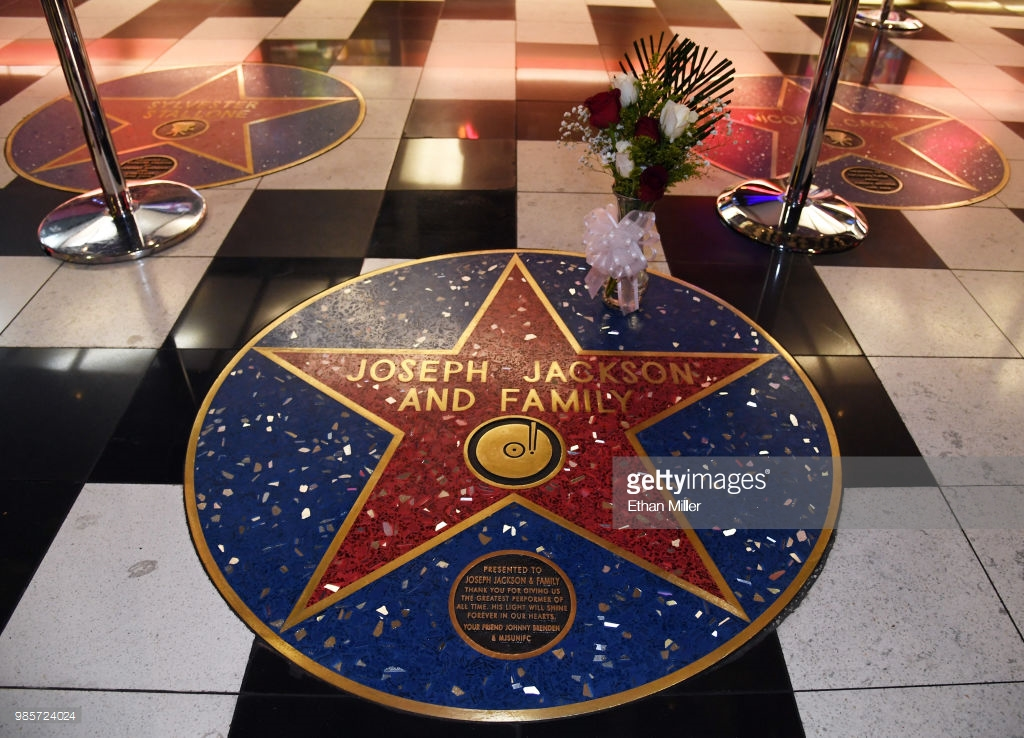 on a celebrity star honoring Joe Jackson and the Jackson family at the Brenden Theatres inside Palms Casino Resort on June 27, 2018 in Las Vegas, Nevada. The patriarch of the Jackson family died in Las Vegas at the age of 89 after battling pancreatic cancer.